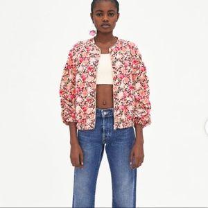 Zara pink flower bomber. NWT